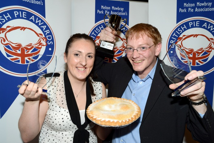 Supreme Champions - Morcambe Football Club : L-R Assistant pastry chef Katherine Simpson & Head chef Graham Aimson with one of their British Pie Awards Supreme Champion Bramley Apple Pie